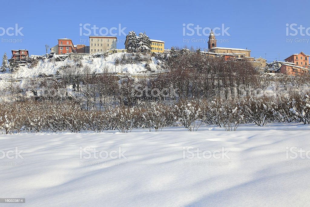 Small town on the hill covered by snow. royalty-free stock photo