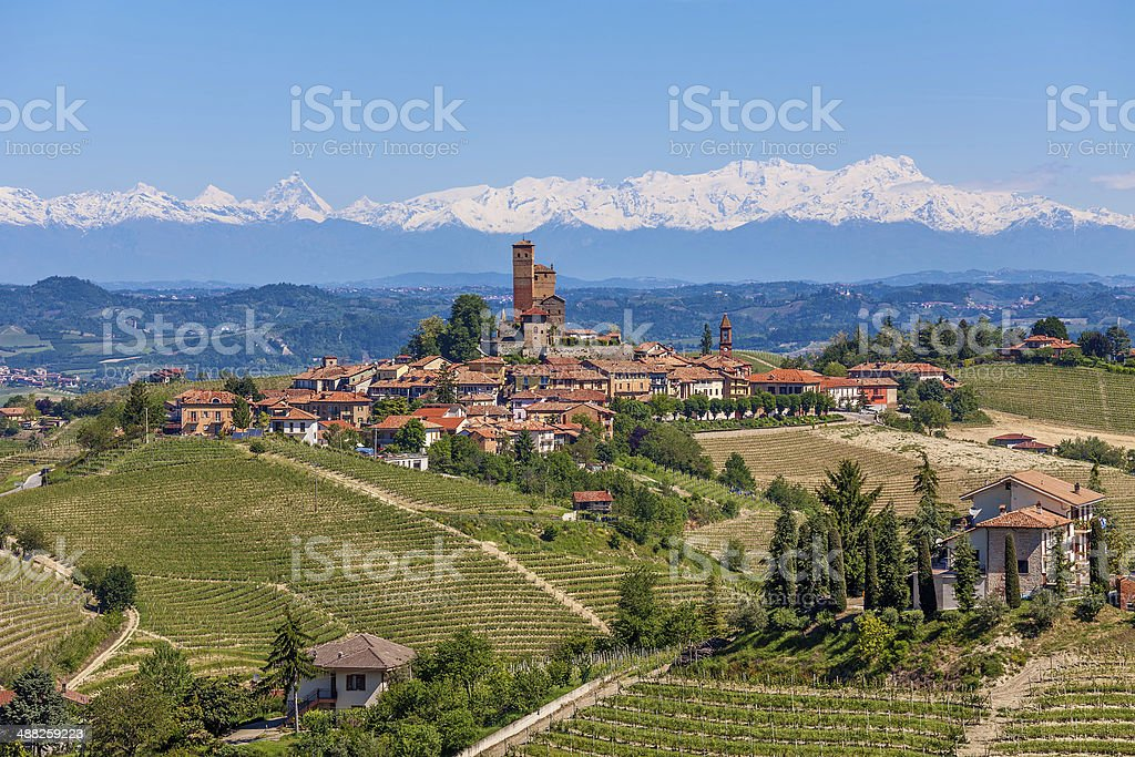 Small town on the hills of Piedmont, Italy. stock photo
