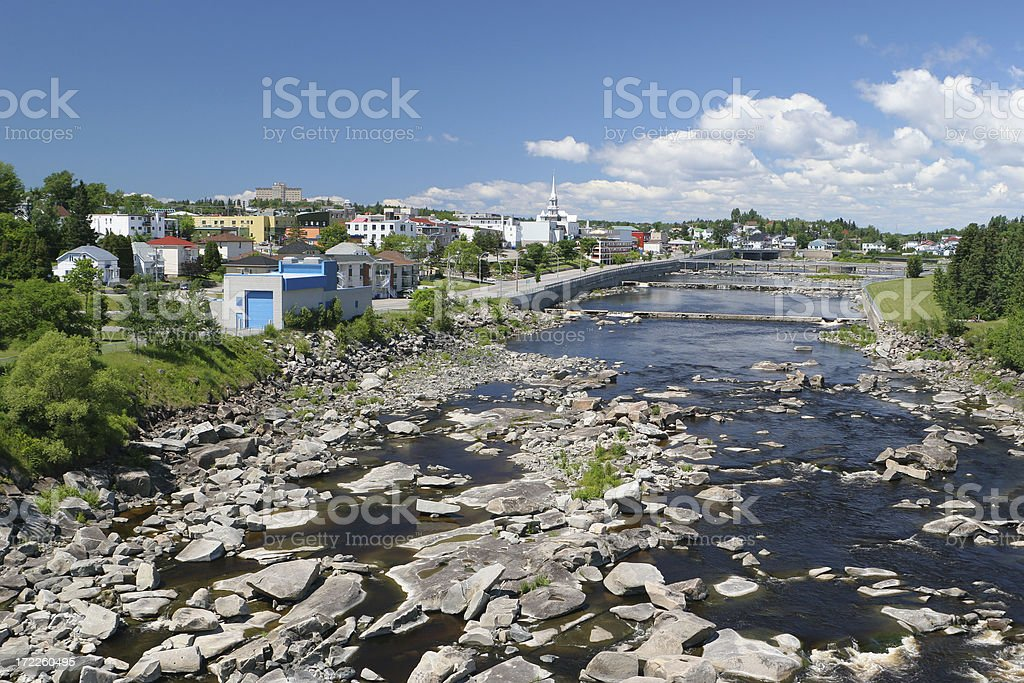 Small town on the Saguenay river side (Alma) stock photo