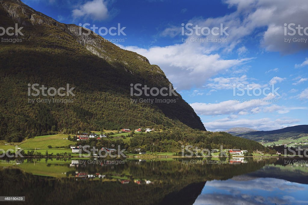 Small Town Overlooking a Fjord - Western Norway Fjords stock photo