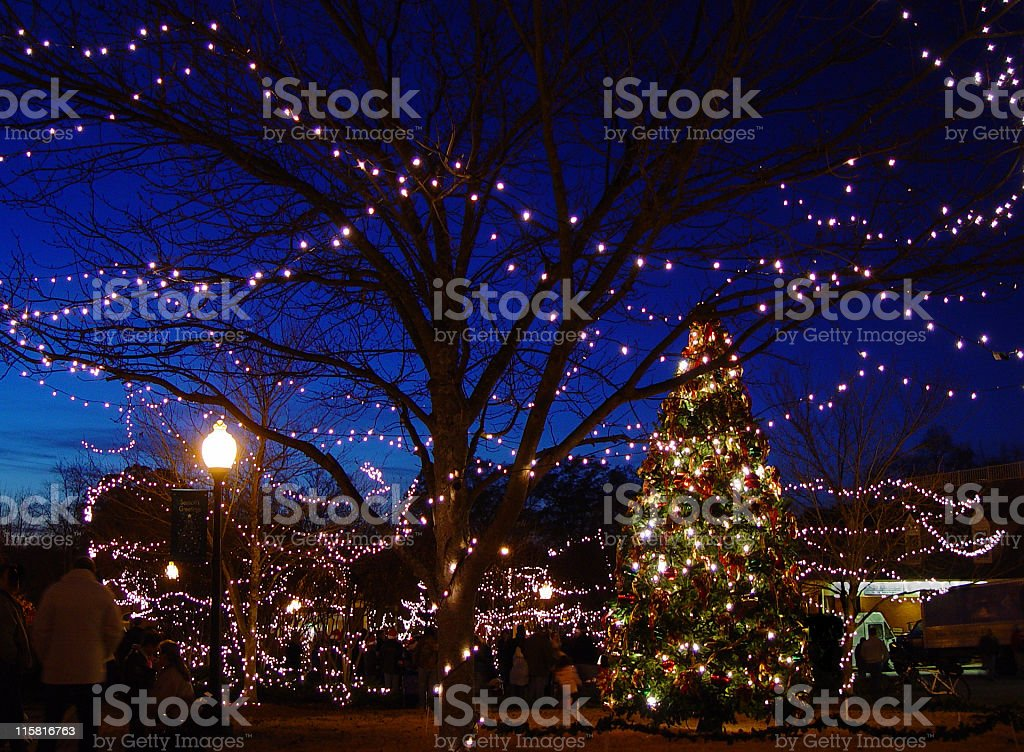 Small Town Square Christmas stock photo