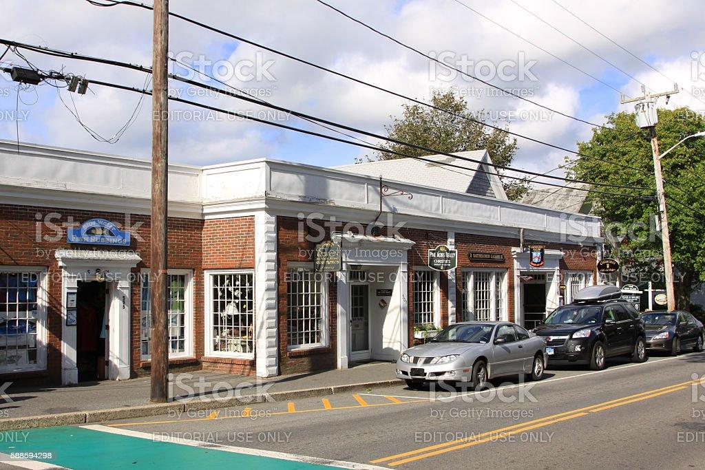 Small Town Street, Chatham, Cape Cod, Massachusetts. stock photo