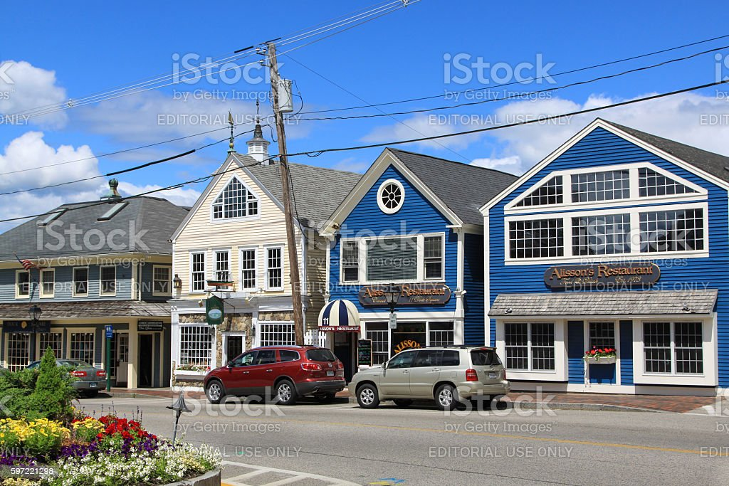 Small Town Street in Kennebunkport, Maine, New England, USA. stock photo