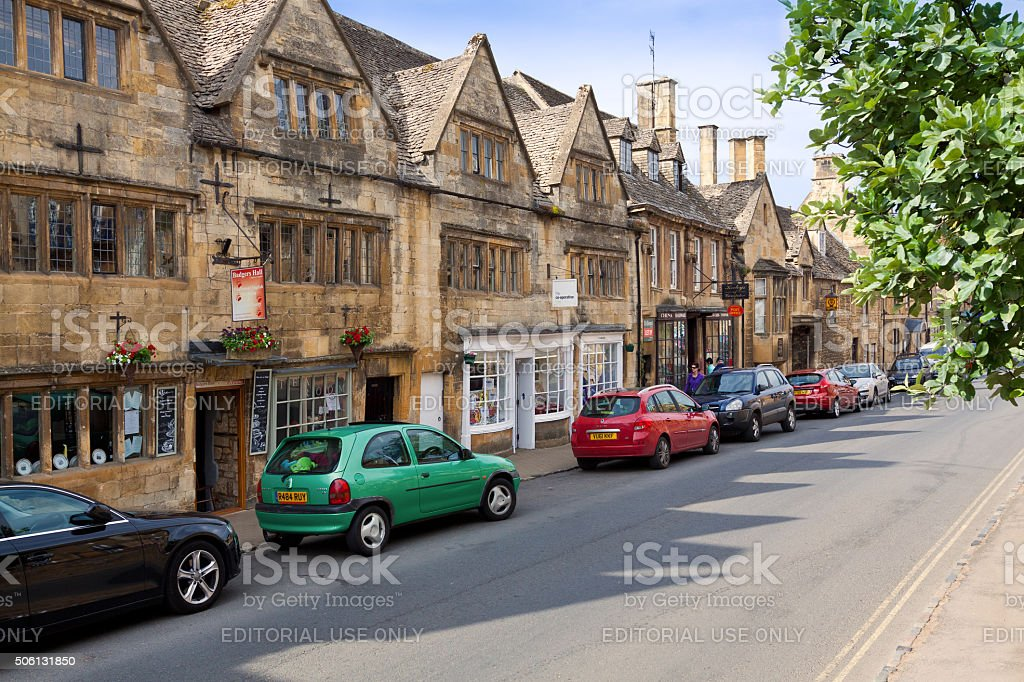 Small Town Street in Morning, Chipping Campden, Cotswold, England, UK. stock photo