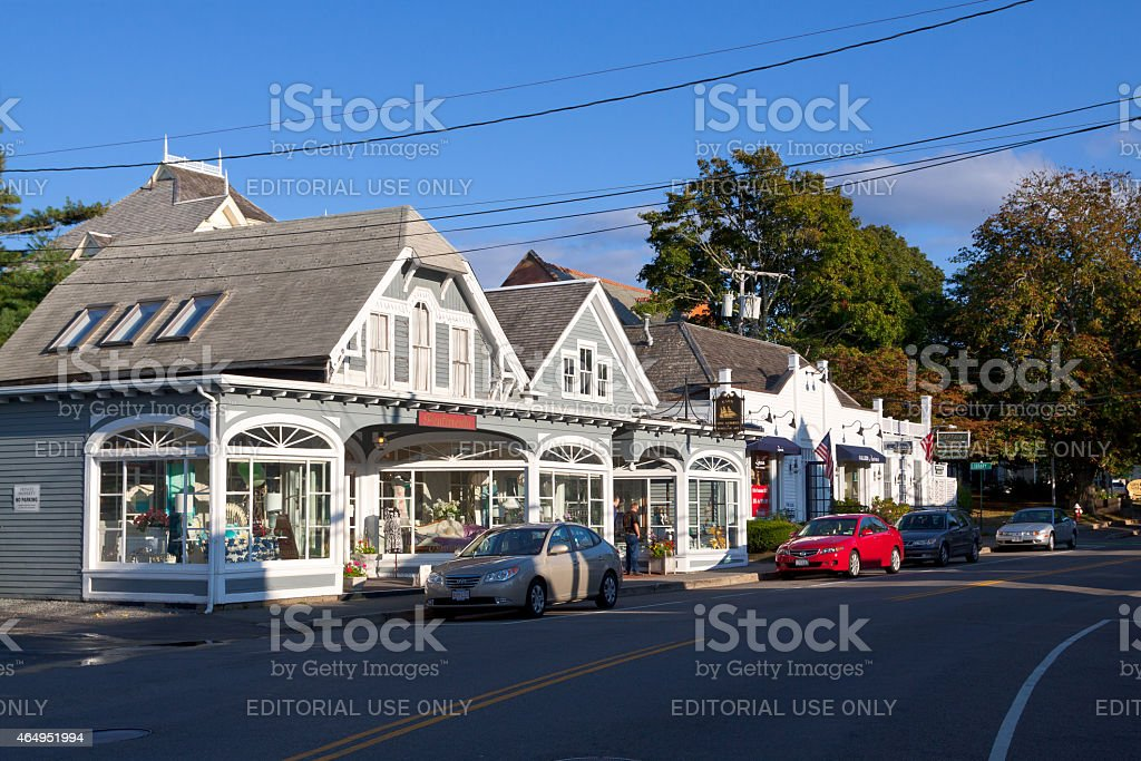 Small Town Street in the evening, Chatham, Cape Cod, Massachusetts. stock photo