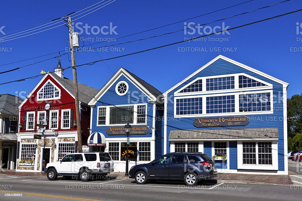 Small Town Street Lined with Restaraunts. Kennebunkport, Maine. stock photo