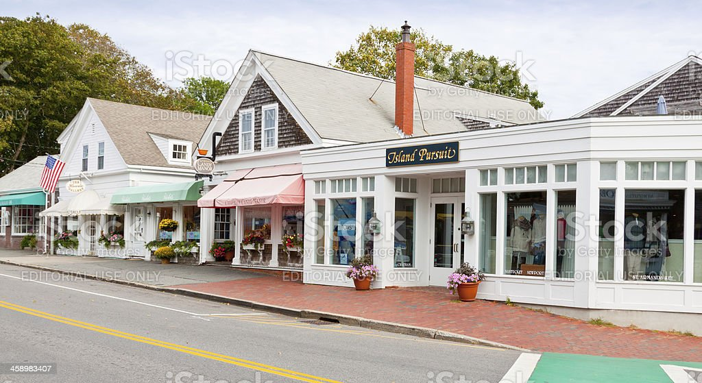 Small Town Street lined with stores, Chatham, Cape Cod, Massachusetts. royalty-free stock photo