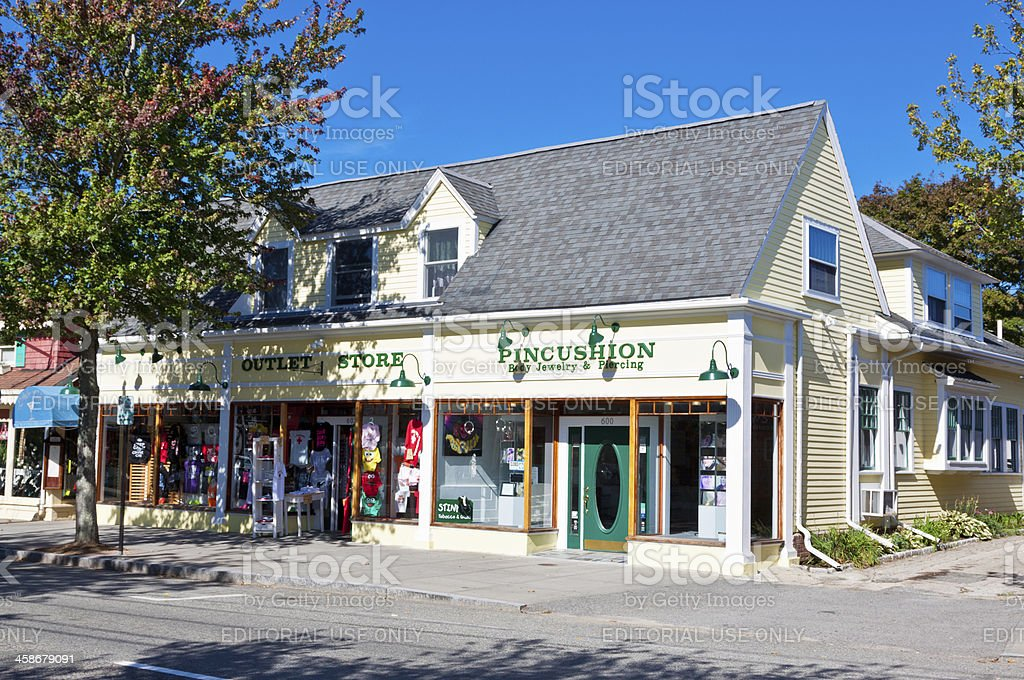 Small Town Street lined with stores, Hyannis. Morning Blue sky. royalty-free stock photo