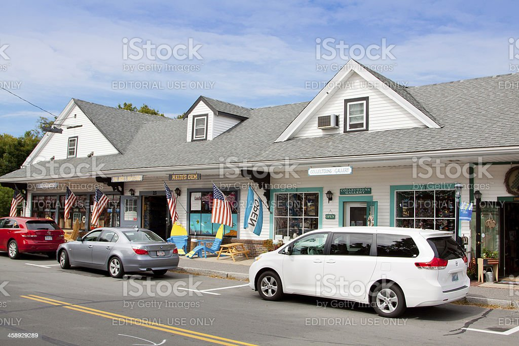 Small Town Street lined with stores, Sandwich, Cape Cod, Massachusetts. royalty-free stock photo
