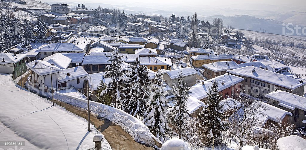 Small town under the snow. Diano D'Alba, Italy. royalty-free stock photo