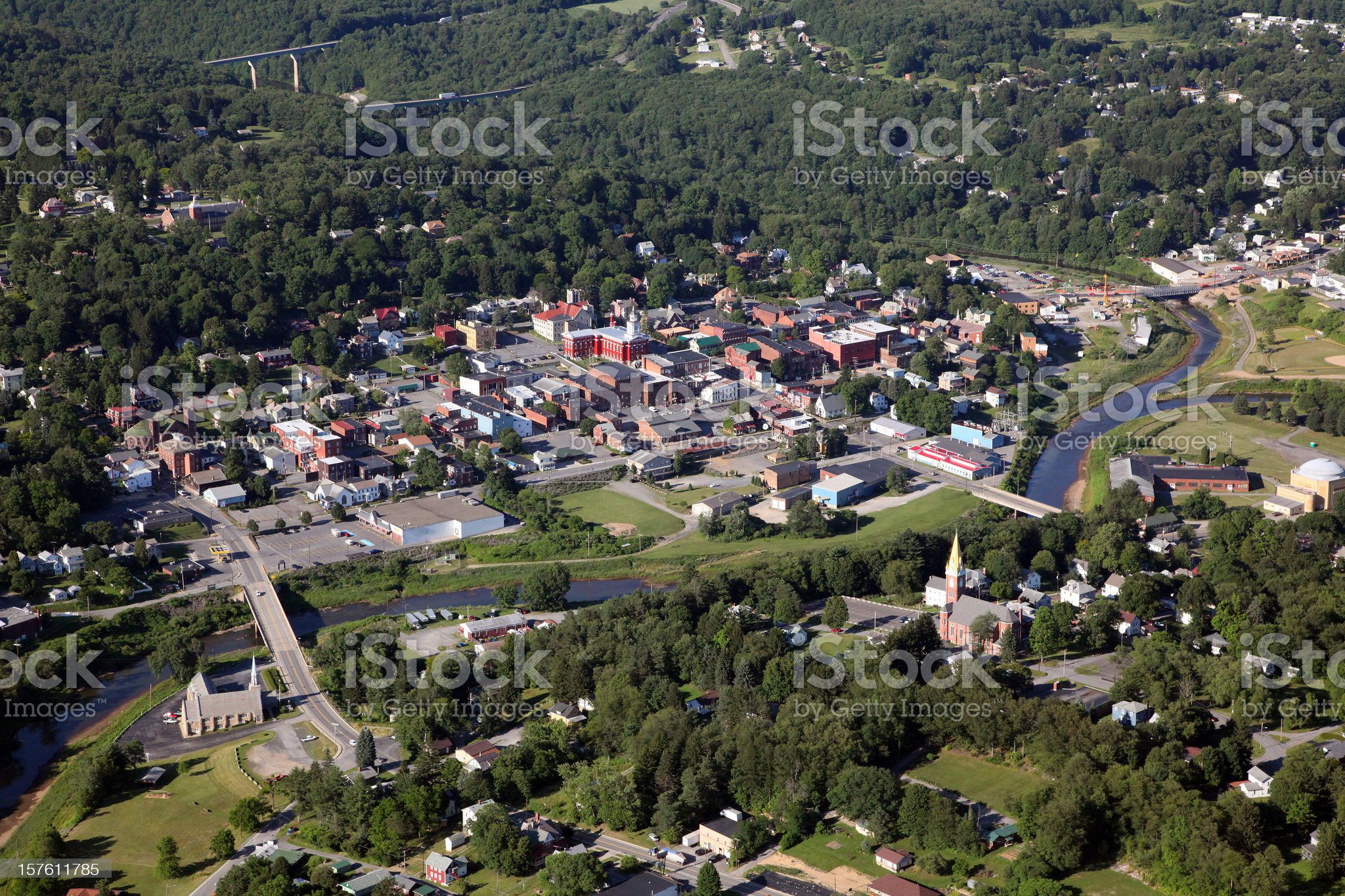 Small Town USA Aerial II royalty-free stock photo