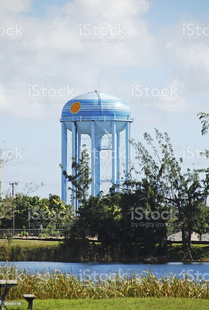 Small town water tower royalty-free stock photo