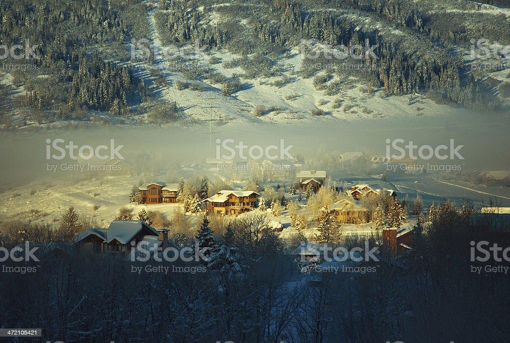 small town winter scene stock photo