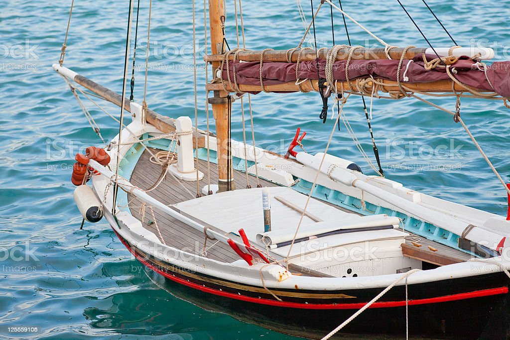 Small traditional Greek sailboat royalty-free stock photo