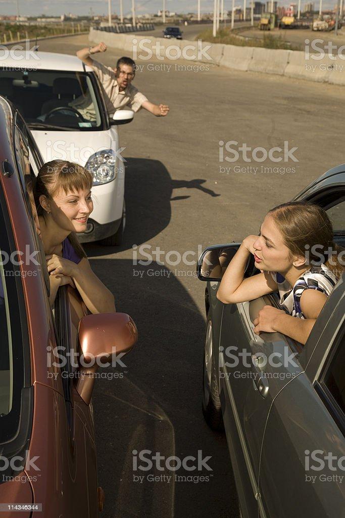 Small traffic jam on the street stock photo