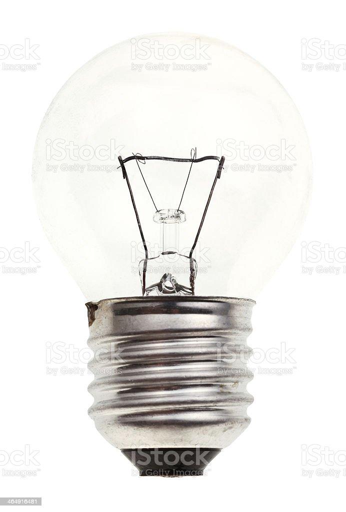 small transparent incandescent light bulb stock photo