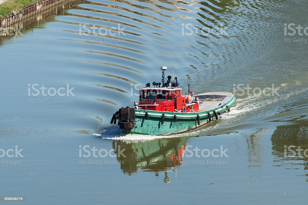 Small Tugboat On The River stock photo