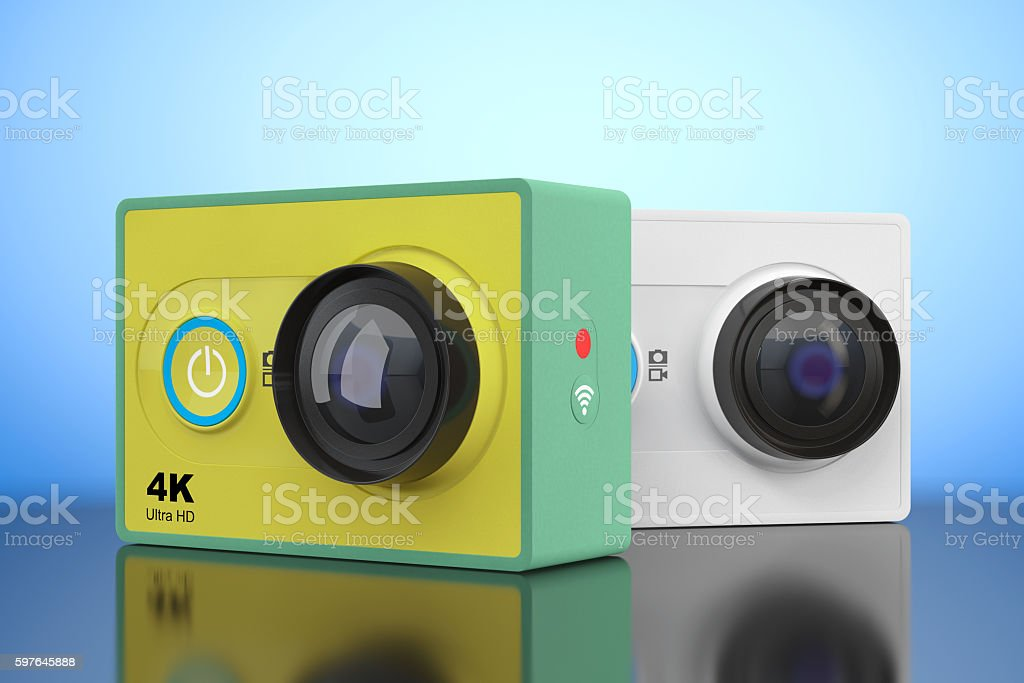 Small Ultra HD Action Cameras. 3d Rendering stock photo
