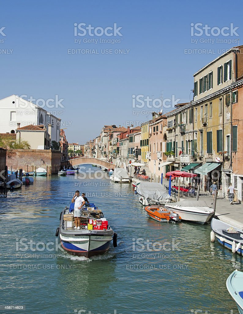 Small Venetian Canal and Barge stock photo
