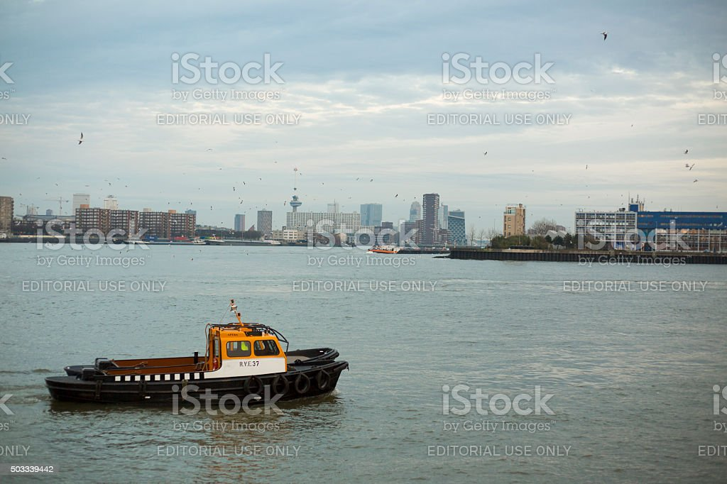 Small vessel on the river stock photo