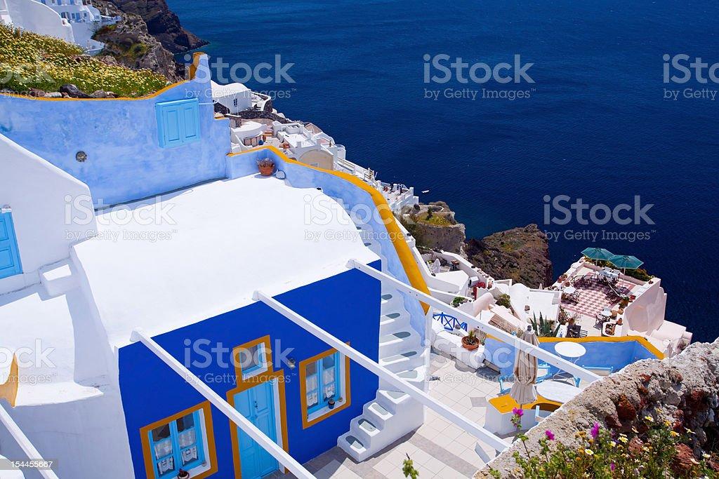 Small villa on the cliff in Oia,Santorini royalty-free stock photo