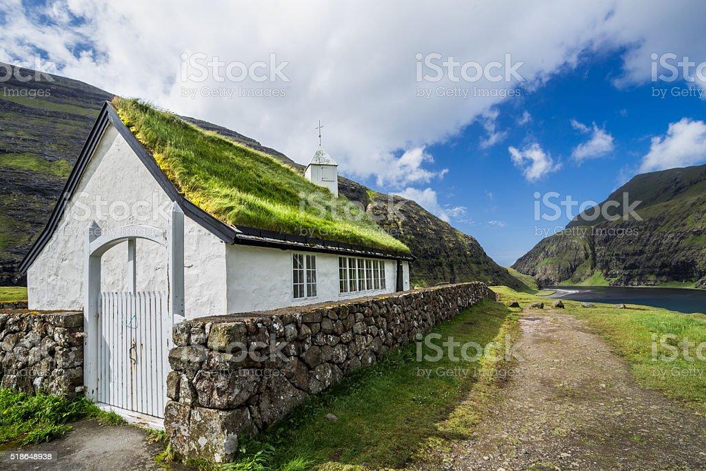 Small village church in Saksun, Faroe Islands, Denmark stock photo