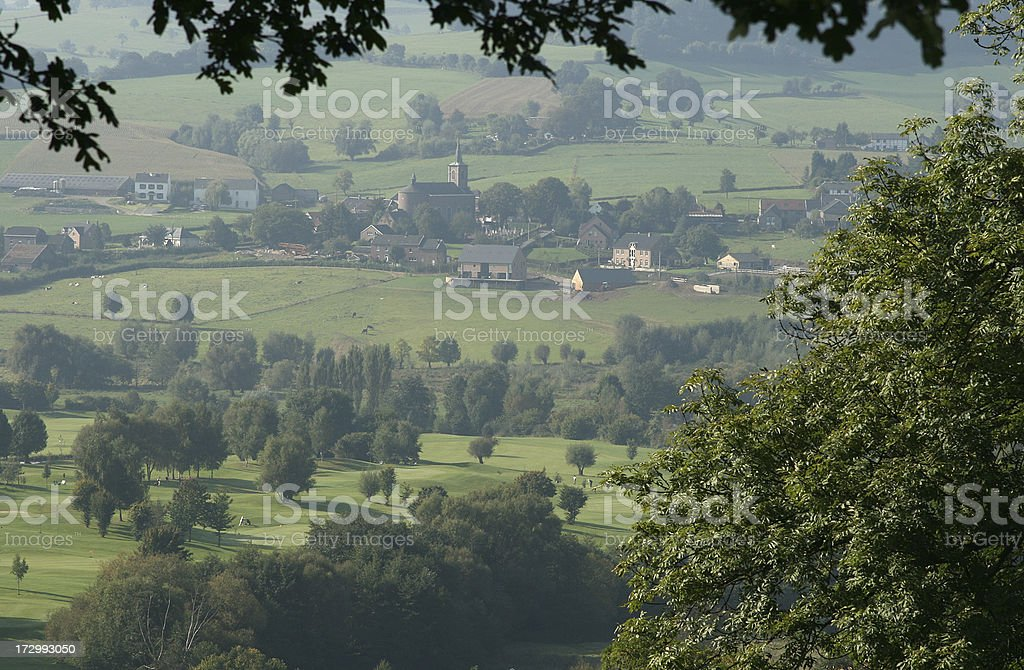 Small Village in a Valley stock photo