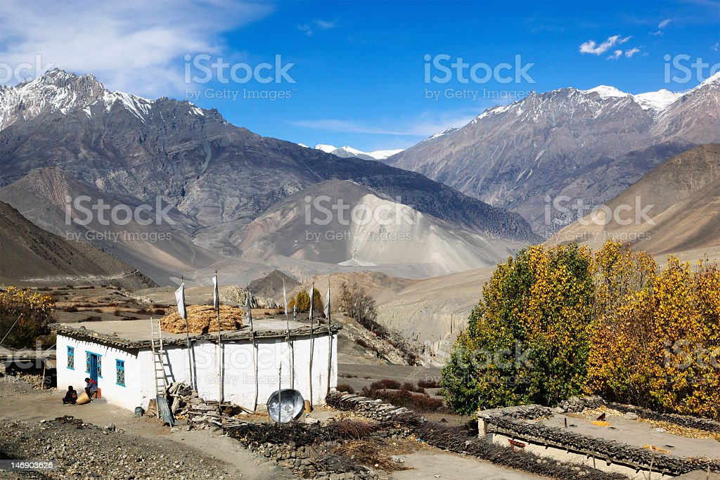 Small village in Himalayas royalty-free stock photo