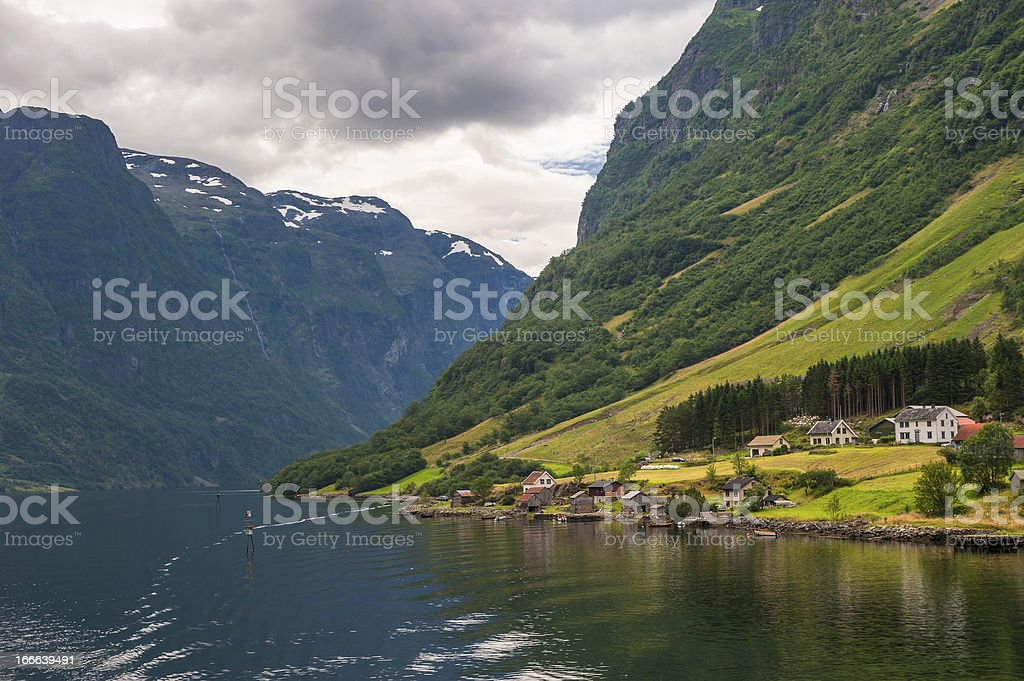 Small village in Naeroyfjord, Norway stock photo