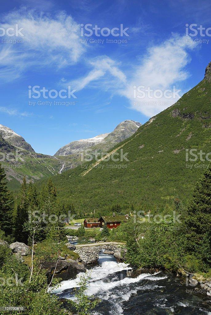 Small village in Norwegian mountain. stock photo