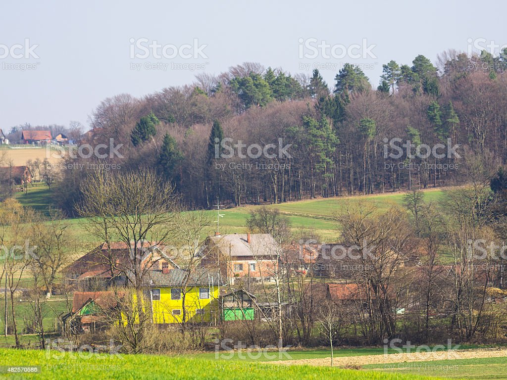 Small village in pomurje, rural Slovenia stock photo