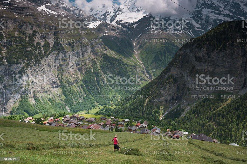 Small village in the Bernese Oberland, Switzerland stock photo