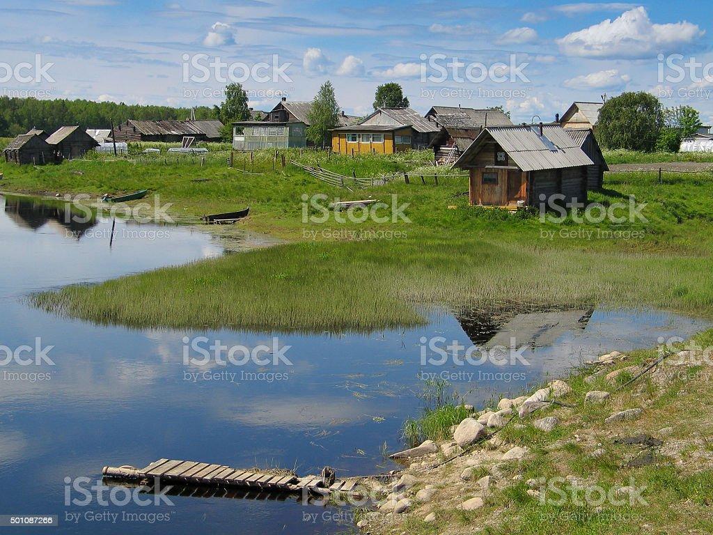 Small village Kindasovo, Karelia, Russia stock photo