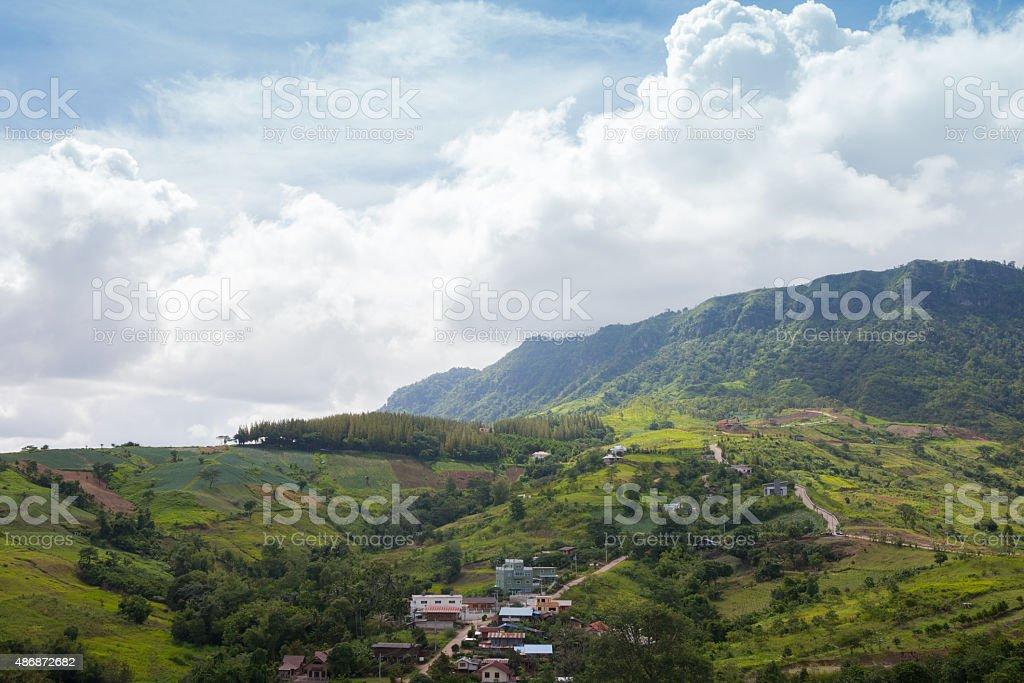 Small village mountain,hamlet stock photo