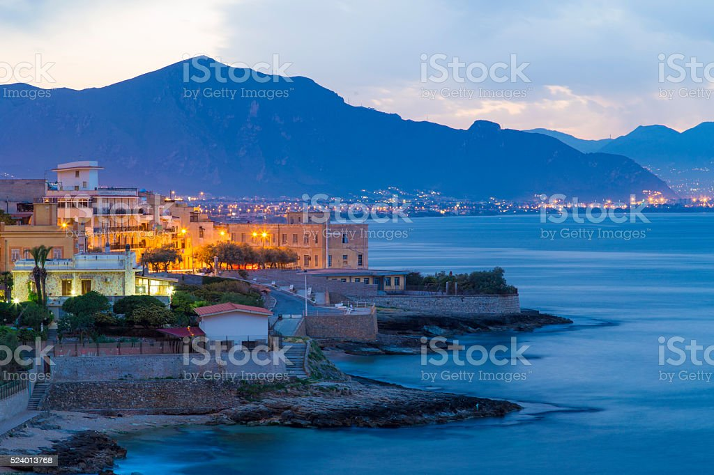 Small village of Aspra seen near Palermo, Sicily, stock photo