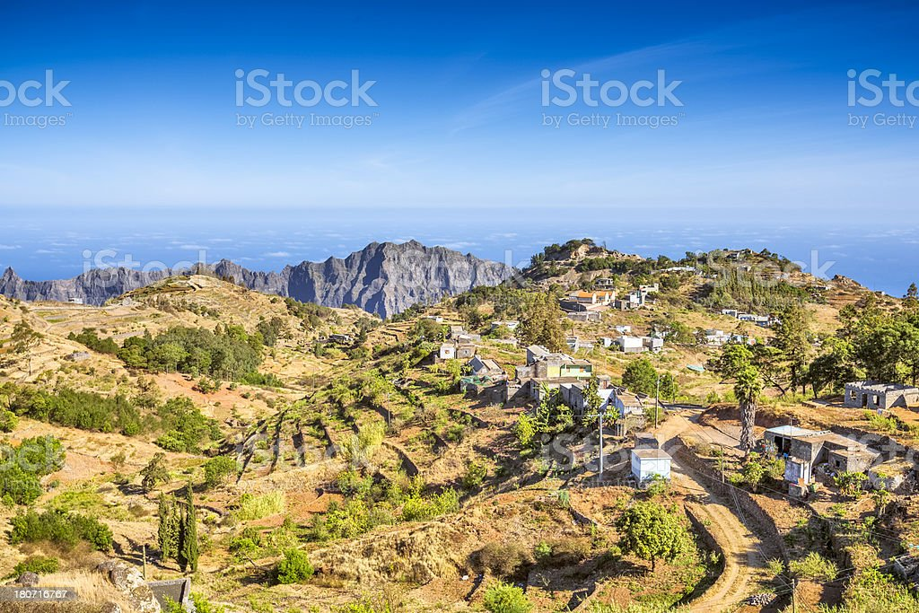 Small village of Santo Antao, Cape Verde stock photo