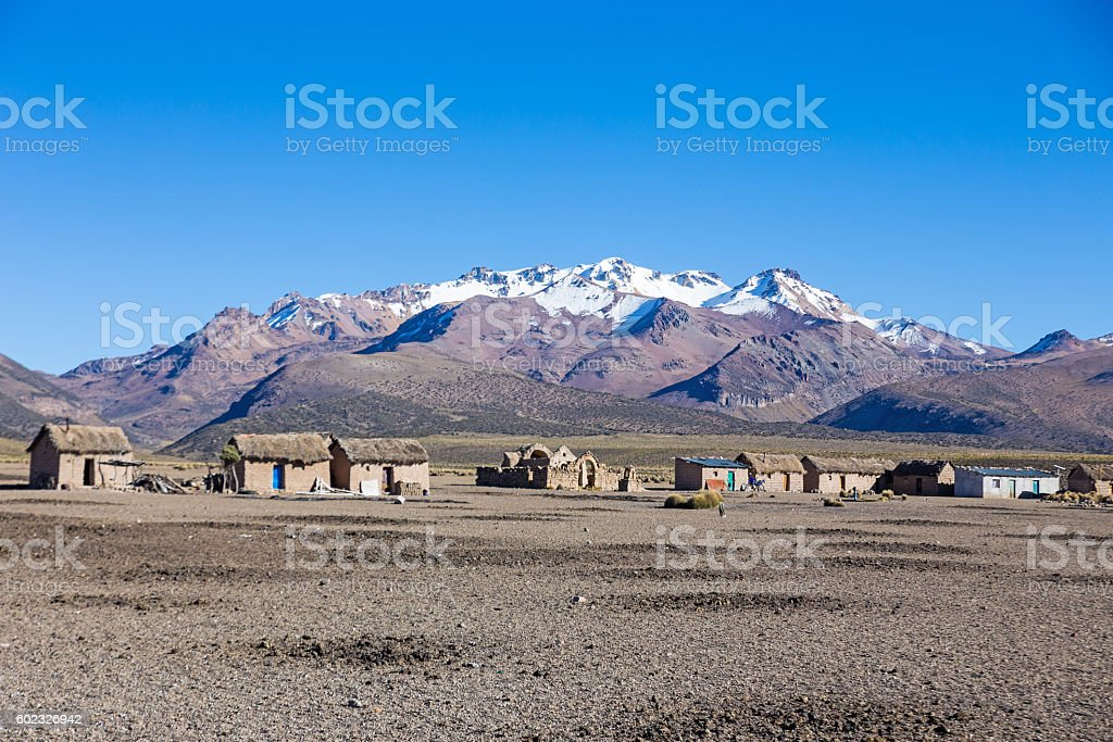 Small village of shepherds, llamas in the Andean mountains stock photo