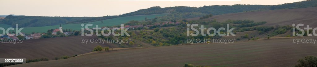 Small village with church at South Moravia in Czechia. stock photo