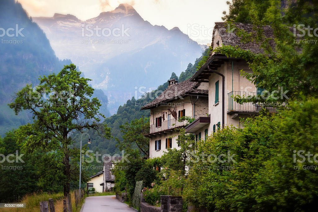 Small Village with Stunning View on Mountains stock photo
