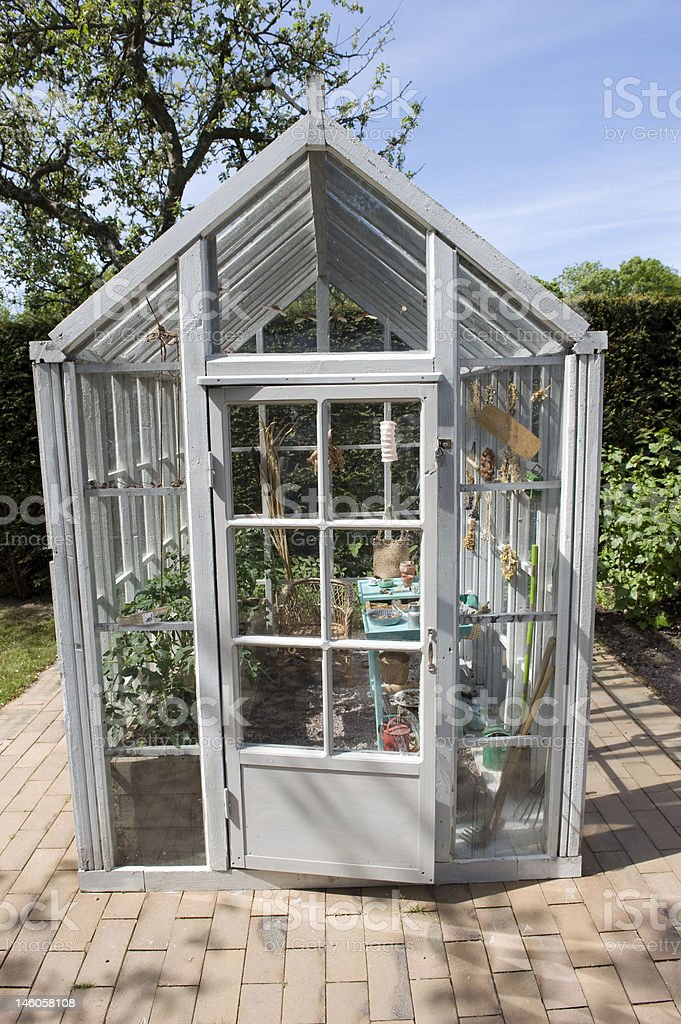 Small vintage greenhouse royalty-free stock photo