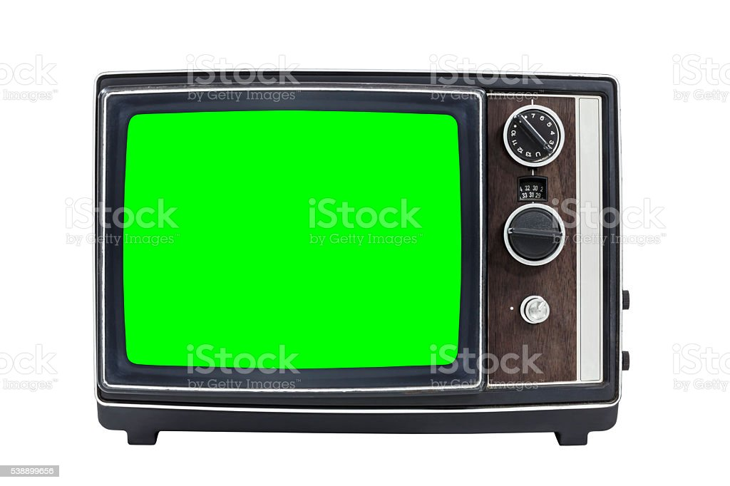 Small Vintage Portable Television with Chroma Green Screen stock photo