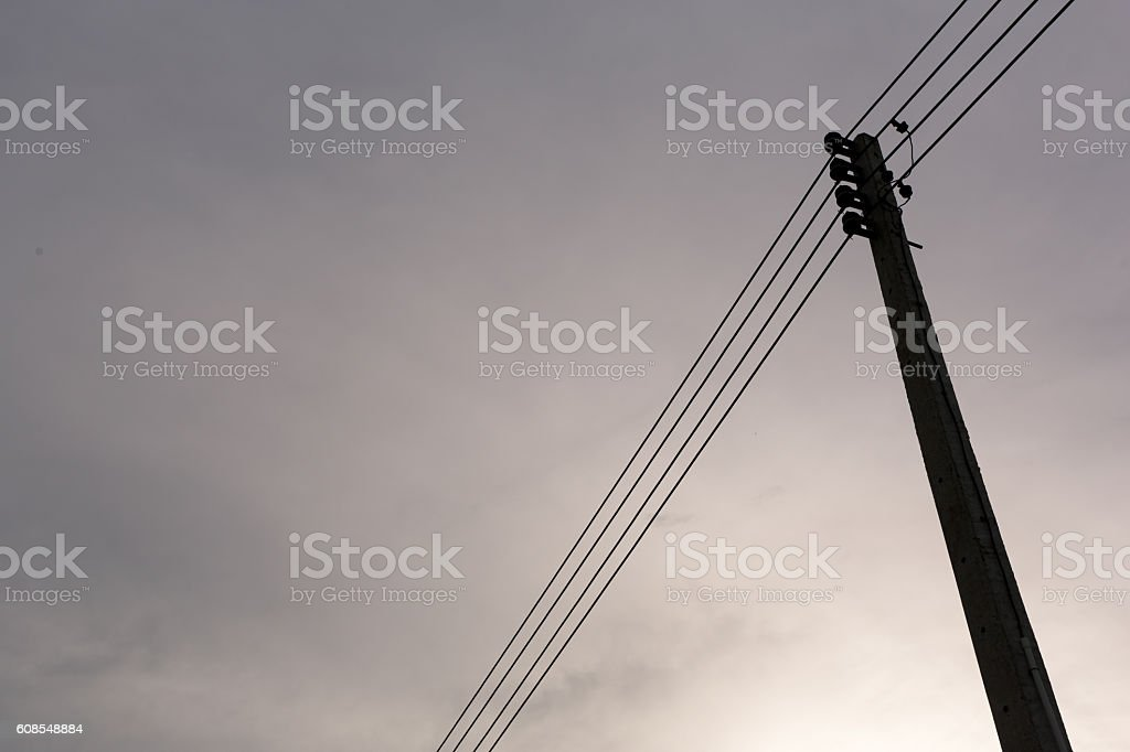 small voltage tower in laos stock photo