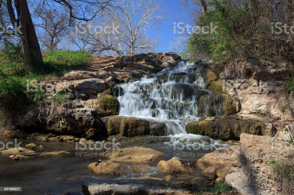 small water fall in chikasaw recreation area stock photo