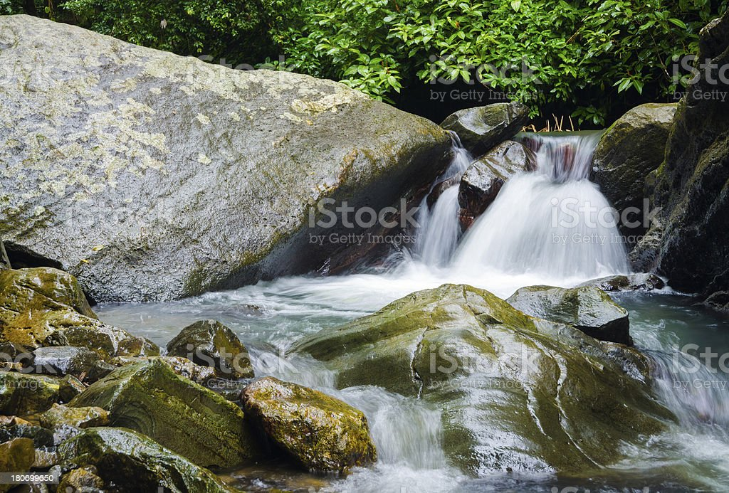 Small waterfall at El Yunque National Forest in Puerto Rico royalty-free stock photo