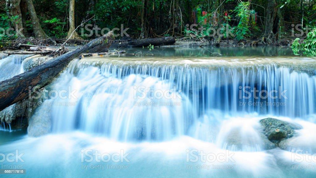 Small waterfall in Erawan nationalpark stock photo
