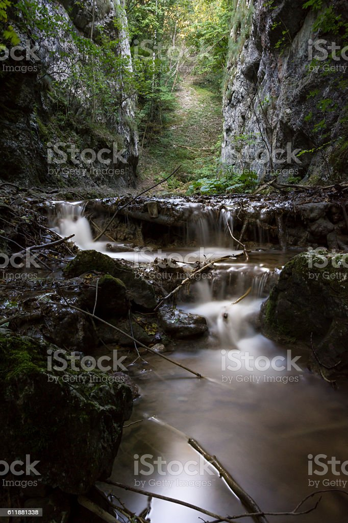 Small waterfall in the Nera National Park, Romania stock photo