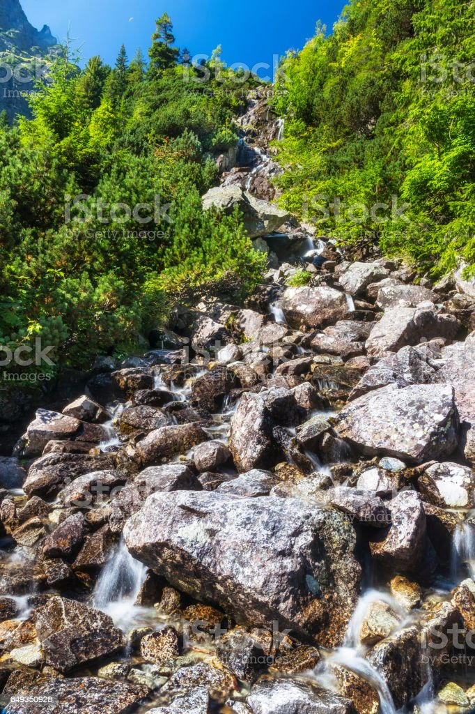 Small waterfall in the Tatra Mountains, Poland stock photo