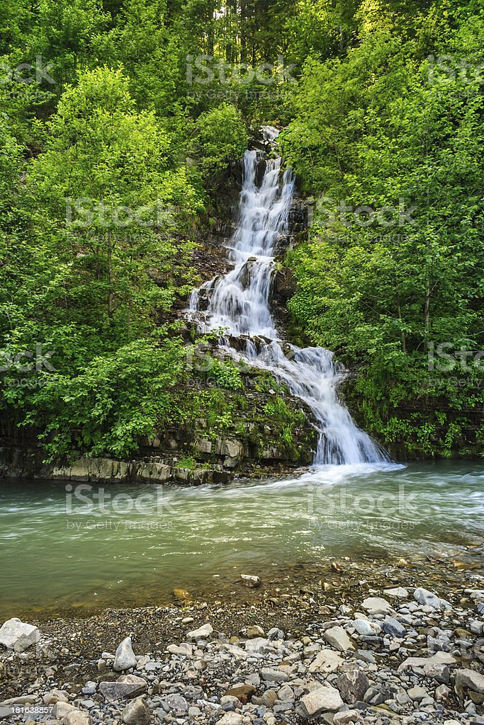 small waterfall on a little mountain stream royalty-free stock photo
