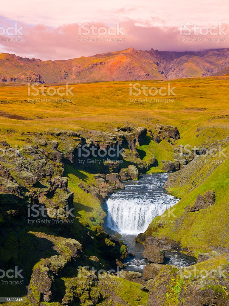 Small waterfall on Skoga river stock photo