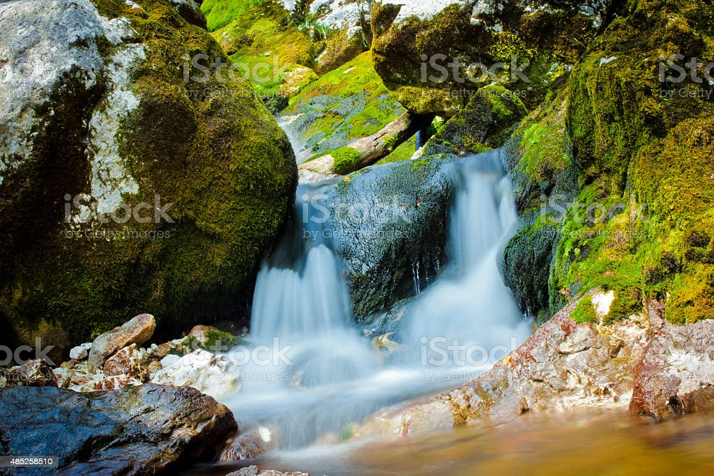 Small waterfalls in Soca River, Slovenija stock photo